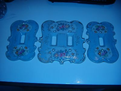 Vintage Porcelain Floral wall switch plates, lot of three