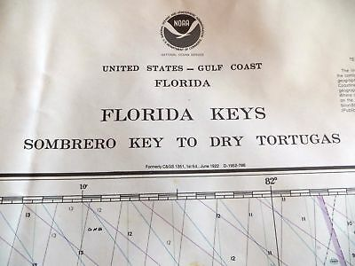 Sombrero Key Dry Tortugas Chart NOAA 1985 Florida Keys Mariner Nautical 48 X 33