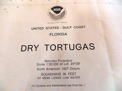 Dry Tortugas Chart NOAA 1983 Florida Keys Mariner Nautical 48 X 33 Rare FreeShip