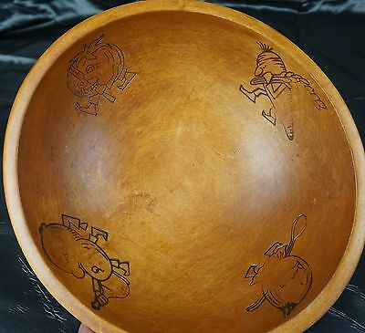 Vintage Old Primitive Wooden Wood Bowl Salad Mixing Cottage Country Kitchen