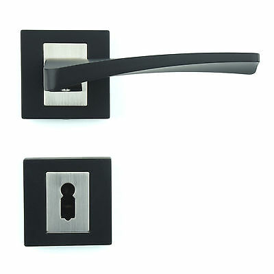 Interior Door Handle Set - Lever on Rose - Matt Black Finish ZA3