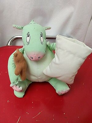 "Vintage 1986 The Monster Bed Plush Toy Doll 7"" Dennis Dragon Monster"