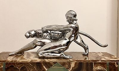 1930 Art Deco Sculpture Figure Nude Lady With Panther By Ouline
