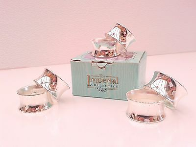 6 silver plated napkin rings  by Imperial collection Made in England