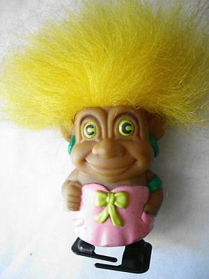 "TROLL Doll Yellow Hair 3"" TOY Walking"