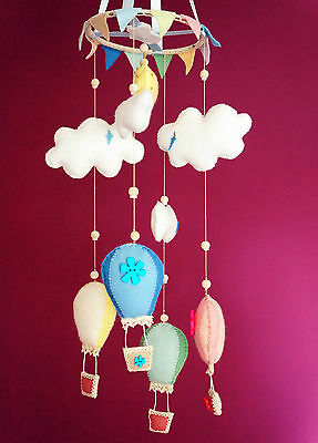 Hot Air Balloon Clouds Baby Mobile Crib Bed