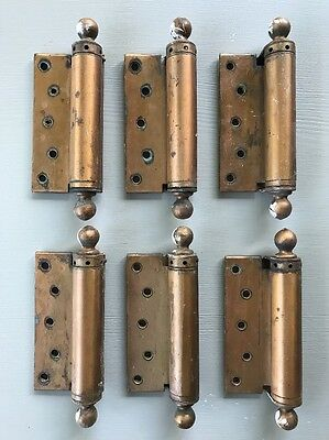 6 Vintage Heavy Door Hinges Ball Top & Bottom 7 Inches Cylinder Spring Loaded