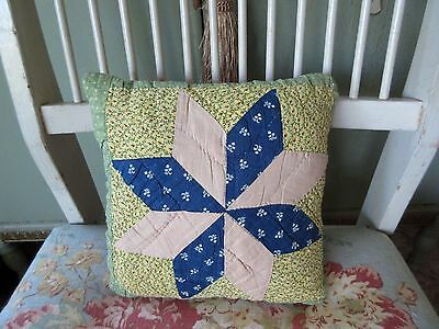 """Handmade from Antique Star Quilt Small Pillow Primitive Farm Country Cottage8x8"""""""