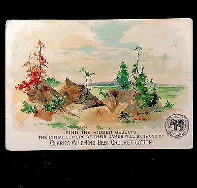 Clark's Mile End Thread Find Hidden Objects 1880s Trade Card Sewing Crochet Cord