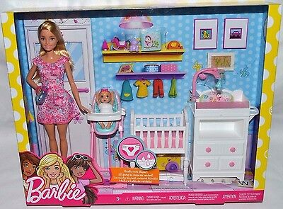 Nrfb-New-2017-Rare-Barbie Babysitter Playset: Baby Really Wets Diaper-Furniture