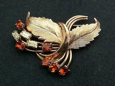 Superbe broche vintage plaqué or et strass signée EXCELLENCE gold plated brooch