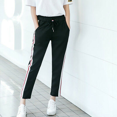 Summer Womens Sports Harem Pants Side Striped Ankle Length Casual Trousers Comfy