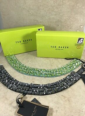 Ted Baker London Lot 2 Necklace Collar Beaded Green Lime Black W Boxes O/S NIB