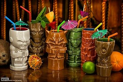 Guardians of the Galaxy Tiki Glasses Mugs Set (6) Groot Star Lord Rocket Raccoon