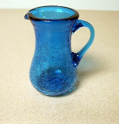 "Vintage Small Blue Crackle Glass Pitcher/Creamer 3 3/4"" Tall"