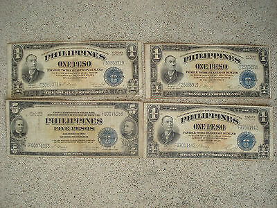 Lot 1944 US Philippines 5 & 1 Pesos Victory Notes MILITARY WARTIME WW2 Vintage