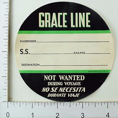 NYK STEAMSHP Line ~JAPAN~ Great Old STATEROOM Luggage Label circa 1945