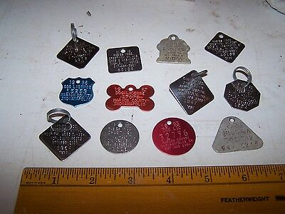 12 Metal INDIANA DOG TAX Tags