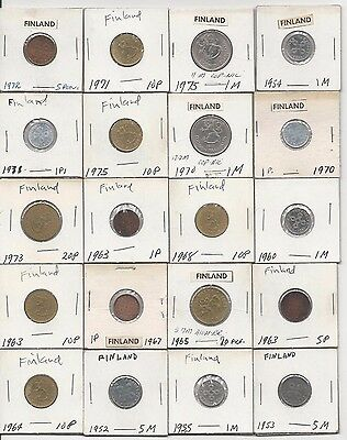 Finland. Vintage Lot Of 20 Finland Coins. Assorted Coins. See Pics.
