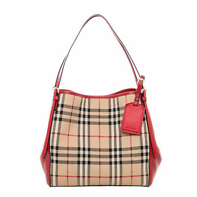 3462d78add29 Burberry Women s Small Canter in Horseferry Check and Leather Beige Red Trim