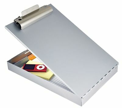 Legal-Size Portable Storage Clipboard with Standard Clip, Aluminum, Silver