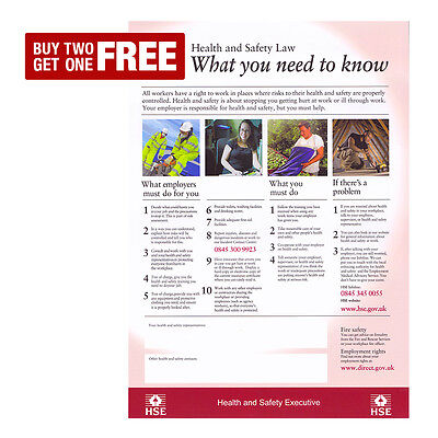 HSE Health and Safety Law Poster Sign | A4 A3 A3+ LAMINATED | HQ Print | UK Work