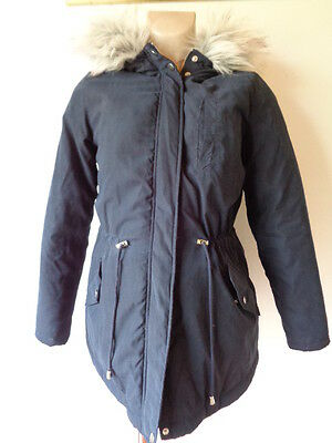 New Look Maternity Navy Quilted Faux Fur Trim Parka Jacket Coat Size 8