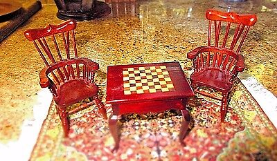 Dollhouse Miniature Vintage Game/Chess Table & Chairs 1:12 Scale