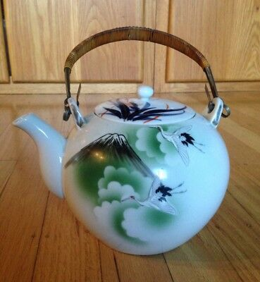 Vintage Teapot with Lid & Bamboo Handle - Made in Japan