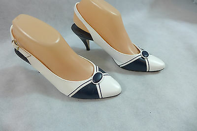 Women's  Life Stride Shoes Heels Pumps Slingback Paige Navy & White 7 1/2 B