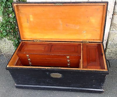 19th Century Antique Victorian Pine Tool Chest Trunk Blanket Box Vintage Table