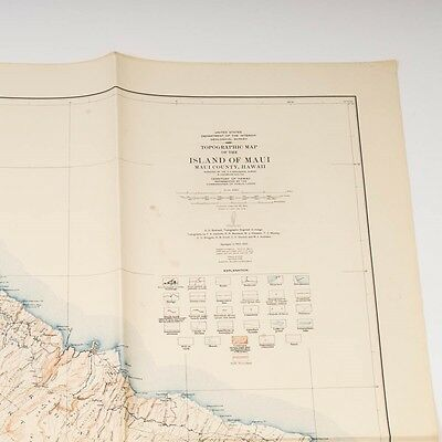 """Antique Topographic Folding Paper Map Maui Hawaii 1948 Edition 53-1/2"""" x 40-1/4"""""""