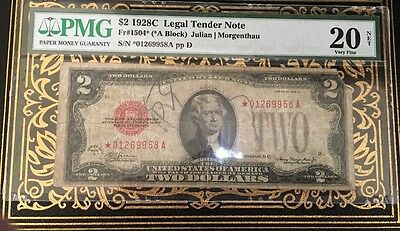 FR-1504*  *A Block 1928 C $2 US Note STAR PMG Very Fine 20 NET *01269958A pp D