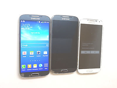 Lot of 3 Samsung Galaxy S4 Smartphones 2 AT&T 1 MetroPCS 1 Power On AS-IS GSM !