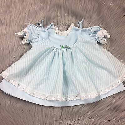 Vintage Baby Girls 2 Piece Blue White Dot Pinafore Dress Top Set Ruffle Lace