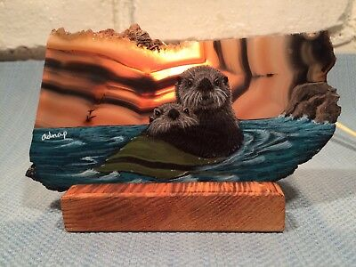 Vintage Hand Painted SEA OTTERS On Polished Stone NIGHT LIGHT Very Unique & CUTE