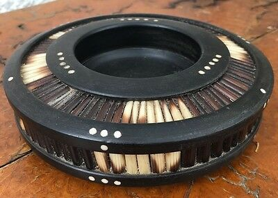 Antique Ebonised Rosewood Porcupine Quill Footed Bowl with bone dot inlay