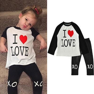 Toddler Baby Kids Girl Outfit Clothes Set Long Sleeve T-shirt Tops+Long Pants