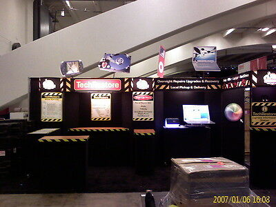 Trade Show Booth 10x10 or 10x20 with Lights, Cabinets and Tables