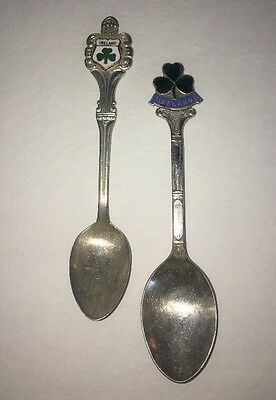 Ireland Collectible Spoons Green Shamrock Silver Plate Souvenirs Nice Set of 2