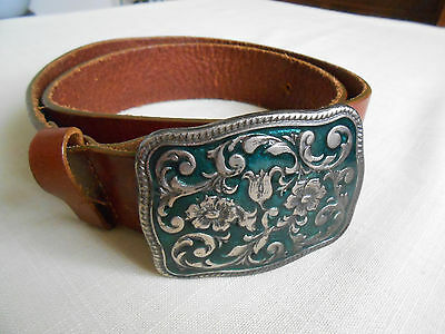 Western Leather Belt W/ Pewter Belt Buckle Green Silver Floral Design Italy