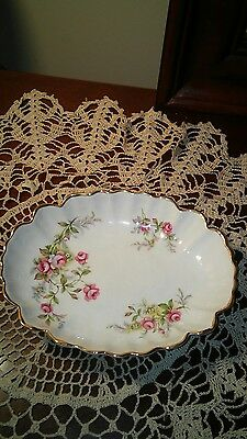 Old Foley James Kent Staffordshire Shabby Crazed Roses Gold Gilt Candy Bowl