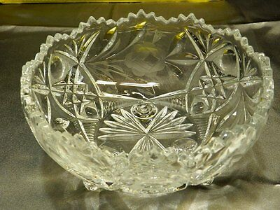Vintage American Brilliant Period ABP Sawtooth Etched Rose Footed Bowl VT1128
