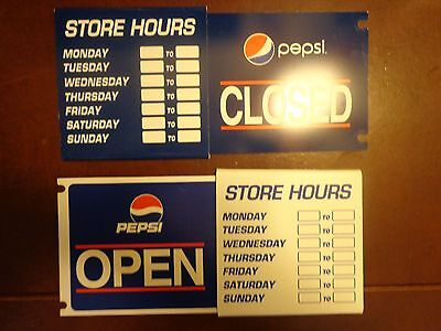Vintage Pepsi-Cola Store / Diner Hours Signs - OPEN / CLOSED