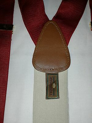 Trafalgar Men's Red Suspenders Braces Leather Tabs Gold Hardware. Nice Condition