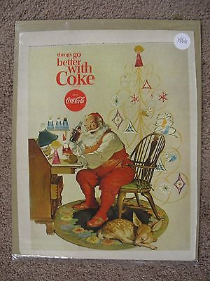 1966 Coca Cola Christmas Santa Claus Large Full Page Color Ad Free Shipping