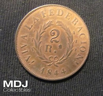 1844 Argentina 2 Reales Coin