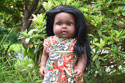 """Large 16"""" Afafa Baby Girls Afro African Black Doll Real Look 40Cm"""