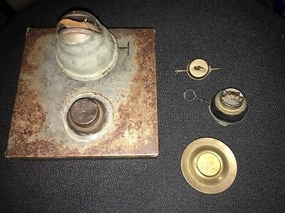 Antique Tin Whale Oil Lamp And Parts Lot