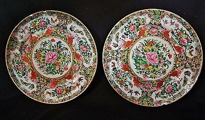 2 Antique Rose Medallion Famille Rose c1860 Imperial Chinese Canton LG Plates